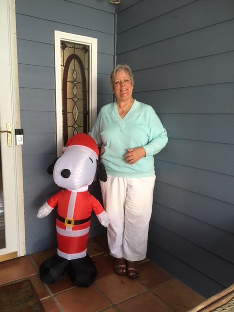 Snoopy and I await the arrival of the grands!